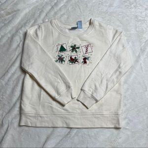 Creme Embroidered Crew Neck Fleece Sweater